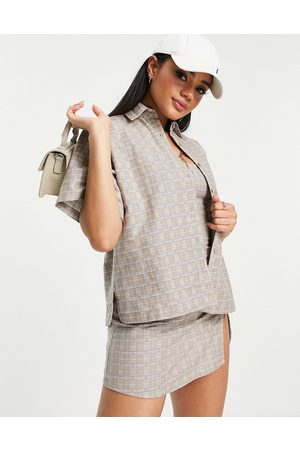 Motel Oversized shirt in check co-ord-Neutral