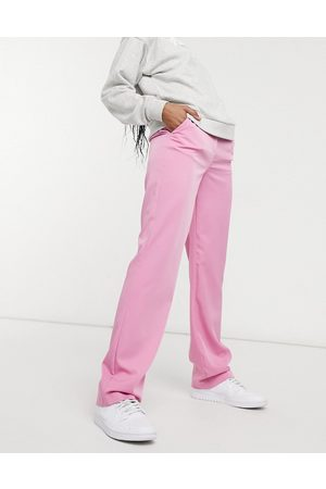 VILA Tailored high waisted pants in pink