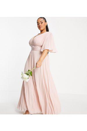 ASOS Curve Bridesmaid pleated flutter sleeve maxi dress with satin wrap waist-Pink