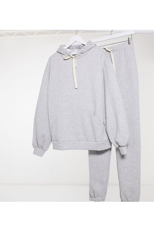 ASOS ASOS DESIGN Tall tracksuit oversized hoodie with contrast ties / oversized jogger in grey marl