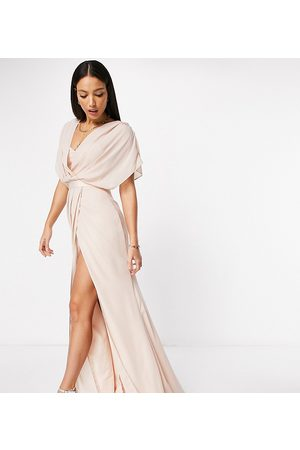 ASOS ASOS DESIGN Tall Bridesmaid short sleeved cowl front maxi dress with button back detail-Pink