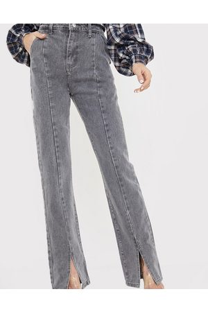 In The Style X Olivia Bowen high waisted split front straight leg jean in grey
