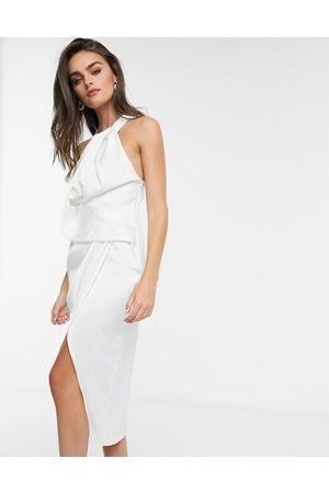 ASOS Satin halterneck midi dress with drape bodice-White