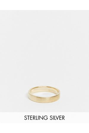 ASOS Rings - Sterling silver band ring in brushed 14k gold plate
