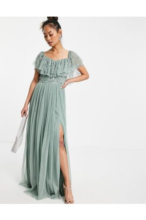 Maya Cold should embellished maxi dress in green