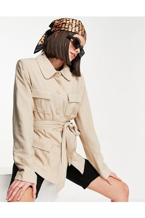 VILA Jacket with pocket detail and tie waist in beige-Neutral