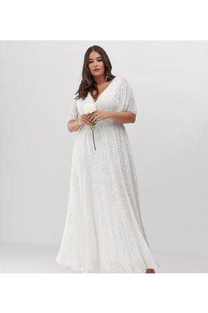 ASOS Curve flutter sleeve sequin maxi wedding dress-White