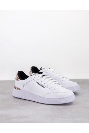Reebok AD Court trainers in white with leopard print heel tab