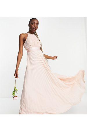 ASOS Tall Bridesmaid pleated pinny maxi dress with satin wrap waist-Pink