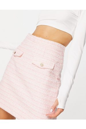 Neon Rose Mini skirt in pastel boucle co-ord-Pink