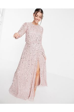 Maya All-over embellished maxi dress with split in frosted pink