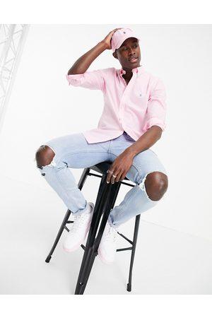Polo Ralph Lauren Poplin player logo shirt button-down slim fit in carmel pink
