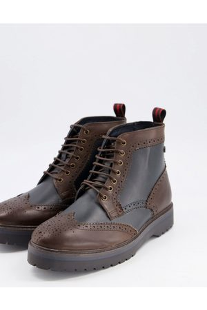 Base London E banner two tone brogue boots-Brown