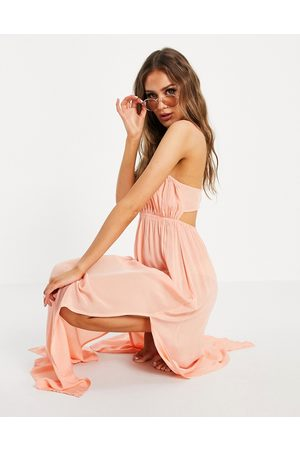 ASOS Bustier beach maxi beach dress in washed coral-Orange