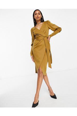 ASOS Puff sleeve wrap belted midi dress in beige-Orange