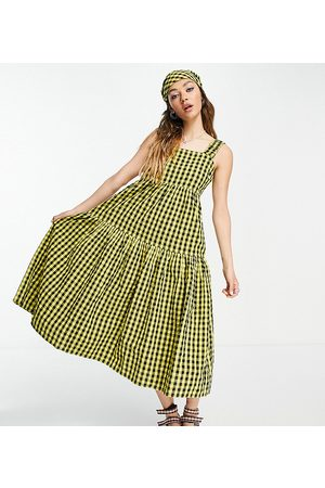 COLLUSION Gingham midi tiered sundress dress in yellow and black-Multi