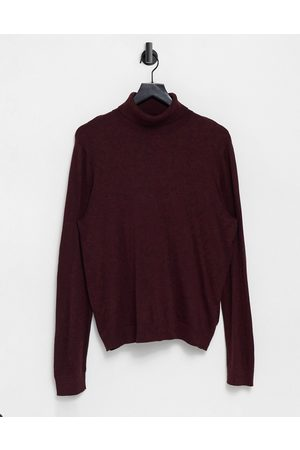 Topman Organic knitted roll-neck in burgundy-Red