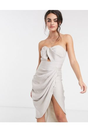 ASOS Twist detail bandeau midi dress with drape front skirt in satin textured crepe-Neutral