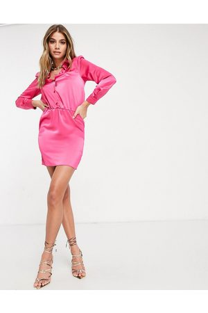 ASOS Button through mini shirt dress with shoulder pads in satin in hot pink