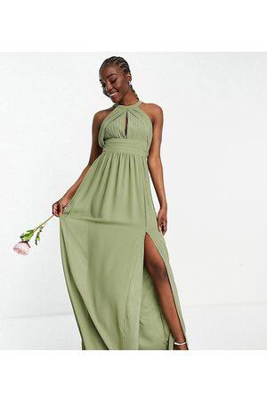 TFNC Bridesmaid pleated maxi dress in dusky green