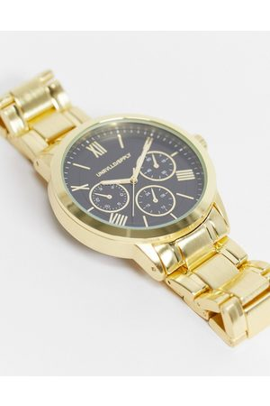 ASOS Bracelet watch with black face in gold tone
