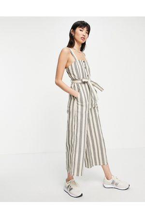 People Tree Relaxed wide-legged jumpsuit with tie waist in stripe-White