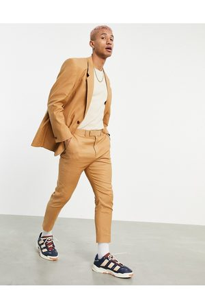 ASOS Tapered suit pants in tobacco linen mix-Brown