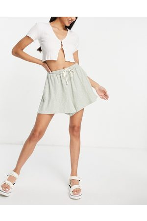 ASOS Casual textured flippy short with rope tie in sage green