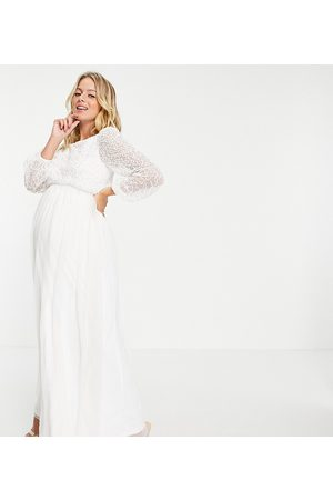 Maya Embellished top long sleeve maxi dress in white