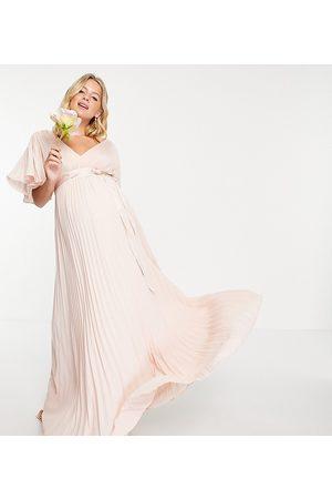 ASOS Maternity Bridesmaid pleated flutter sleeve maxi dress with satin wrap waist-Pink