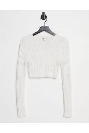 Topshop Knitted fluffy rib crop jumper-White