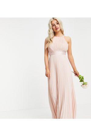 ASOS Women Party Dresses - Petite Bridesmaid pleated pinny maxi dress with satin wrap waist-Pink