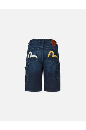 Evisu Men Shorts - Two-tone Seagull Denim Shorts