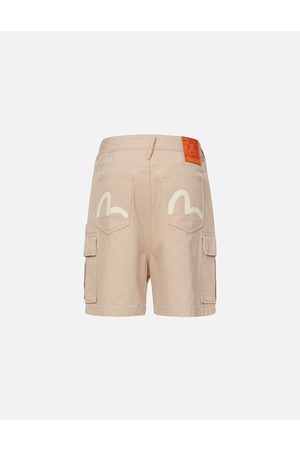 Evisu Men Shorts - Seagull Print Cargo Shorts