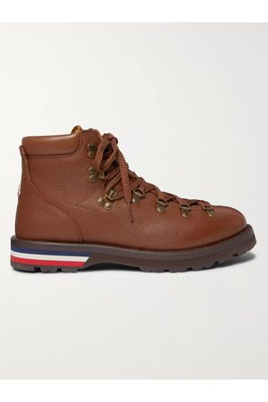 Moncler Men Boots - Striped Full-Grain Leather Boots