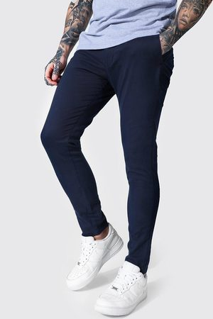 Boohooman Mens Navy Super Skinny Chino Trouser