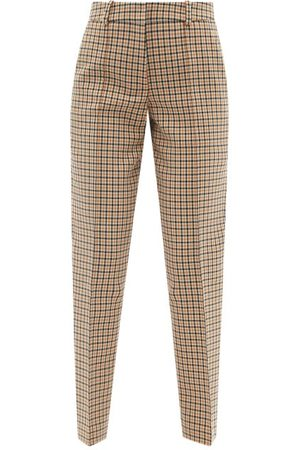 Another Tomorrow Checked Cotton-blend Tapered-leg Trousers - Womens - Tan