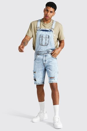 Boohooman Mens Ice Relaxed Fit Distressed Short Dungaree