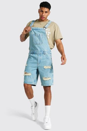 Boohoo Men Bootcut & Flares - Mens Antique Relaxed Fit Distressed Short Dungaree
