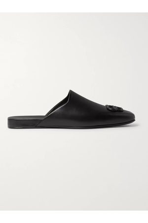 Balenciaga Men Loafers - Cosy BB Logo-Embellished Backless Leather Loafers