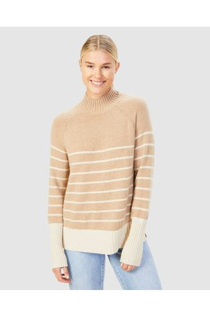 French Connection Women Sweaters - Cosy Stripe Knit - Jumpers & Cardigans (CAMEL/ECRU) Cosy Stripe Knit