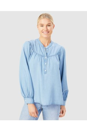 French Connection Gathered Detail Shirt - Tops (CHAMBRAY) Gathered Detail Shirt