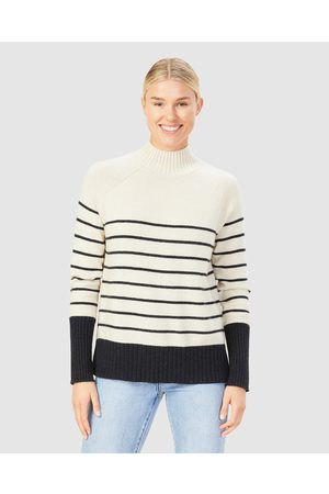 French Connection Cosy Stripe Knit - Jumpers & Cardigans (ECRU/NAVY) Cosy Stripe Knit