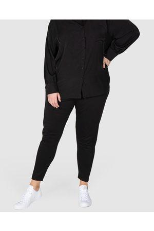 Love Your Wardrobe Women Joggers - Sacha Knit Ponti Wide Waist Pants - Pants Sacha Knit Ponti Wide Waist Pants
