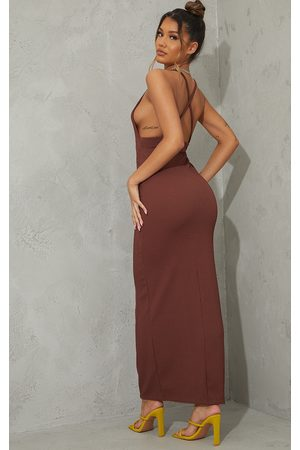 PRETTYLITTLETHING Chocolate Crinkle Strappy Cross Back Maxi Dress