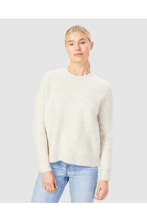 French Connection Women Sweaters - Stitch Detail Crew Neck Knit - Jumpers & Cardigans (ECRU MELANGE) Stitch Detail Crew Neck Knit
