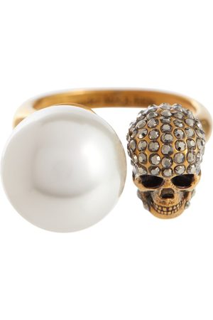 Alexander McQueen Women Rings - Faux pearl and crystal-embellished ring