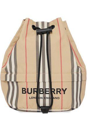 Burberry Women Clutches - Logo print Icon stripe drawcord pouch