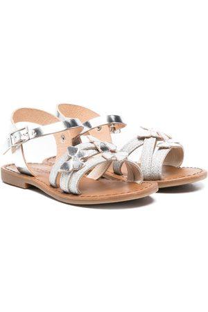 MONNALISA Butterfly-detail metallic-effect sandals