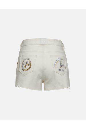 Evisu Women Shorts - Kamon and Logo Print Denim Shorts